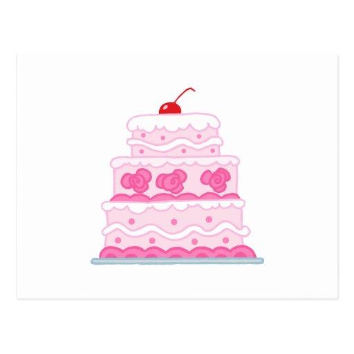 Torta rosada elegante postal