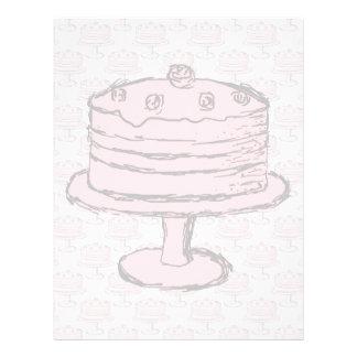 """Torta rosada en modelo rosado de la torta folleto 8.5"""" x 11"""""""