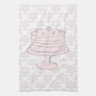Torta rosada en modelo rosado de la torta toalla de mano