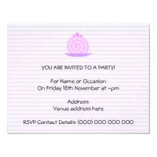 """Torta rosada espiral en rayas rosadas invitación 4.25"""" x 5.5"""""""