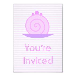 """Torta rosada espiral en rayas rosadas invitación 5"""" x 7"""""""