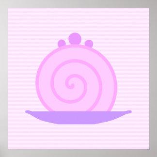 Torta rosada espiral en rayas rosadas posters