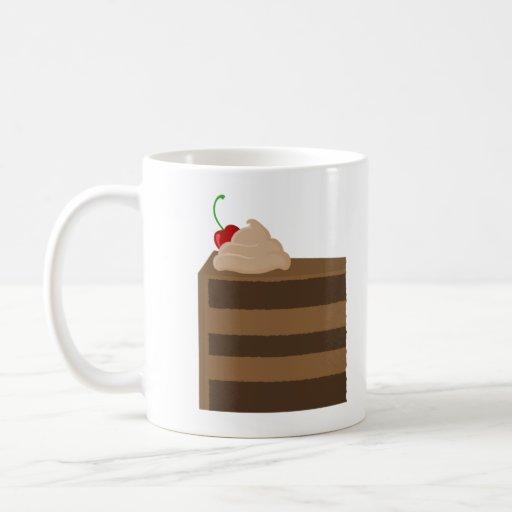 Torta y café de chocolate para la taza del desayun
