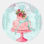 Torta y coronas rosadas pegatinas redondas