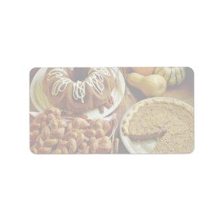 Torta y empanada de Halloween Etiqueta De Dirección