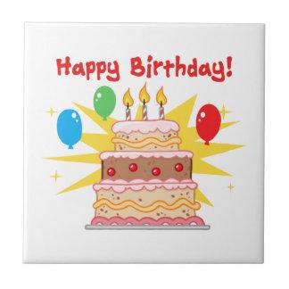Torta y globos del feliz cumpleaños azulejo cuadrado pequeño