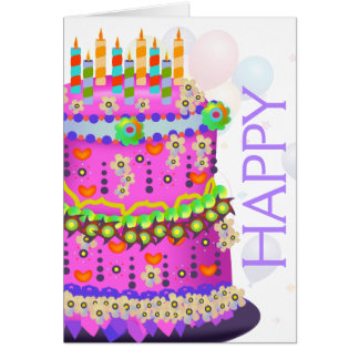 """Torta y globos - tarjeta del """"feliz cumpleaños"""" de"""