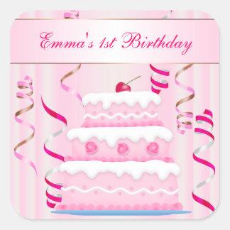 Torta y pegatina del cumpleaños de las flámulas