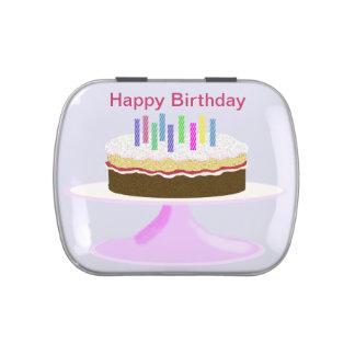 Torta y velas del feliz cumpleaños latas de dulces