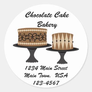 Tortas de chocolate decadentes pegatina redonda