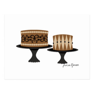 Tortas de chocolate decadentes tarjetas postales