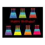 Tortas de cumpleaños del arco iris del fiesta del  tarjetas postales