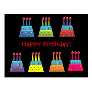 Tortas de cumpleaños del arco iris del fiesta del postal