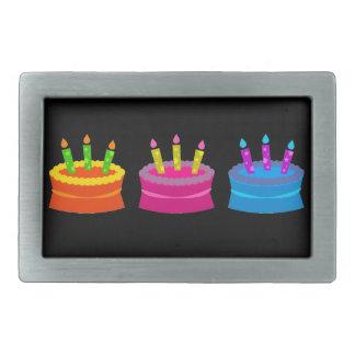 Tortas de cumpleaños vibrantes hebilla de cinturón rectangular