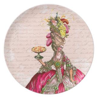 Tortas de Marie Antonieta y placa del pavo real Platos De Comidas