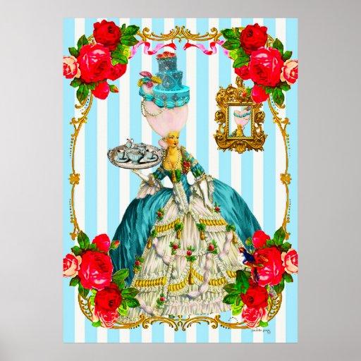 Tortas del azul de Marie Antonieta y poster del gi