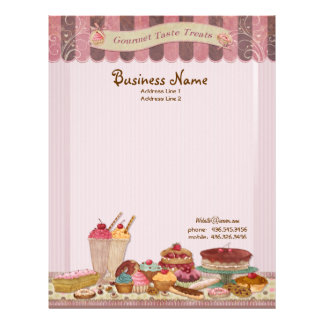Tortas del boutique de la panadería y papel con me membretes personalizados