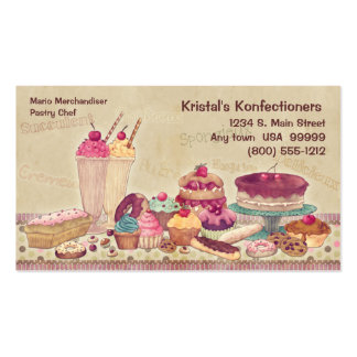 Tortas, empanadas, galletas, tarjeta de visita del