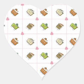 Tortas y empanadas felices pegatina en forma de corazón