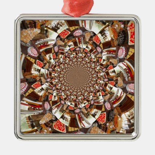 Tortas y postres hermosos adorno navideño cuadrado de metal