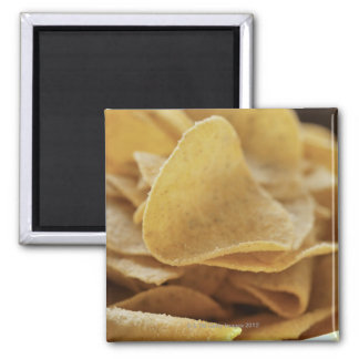 Tortilla chips in wooden bowl 2 inch square magnet