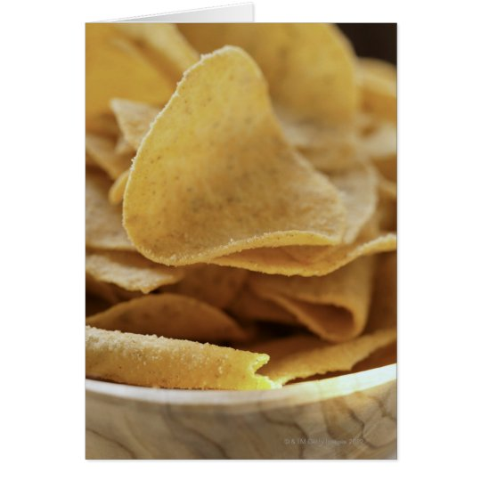 Tortilla chips in wooden bowl card