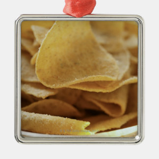 Tortilla chips in wooden bowl metal ornament