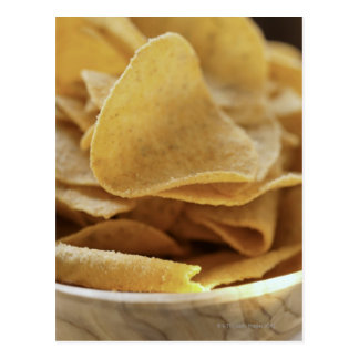 Tortilla chips in wooden bowl postcard