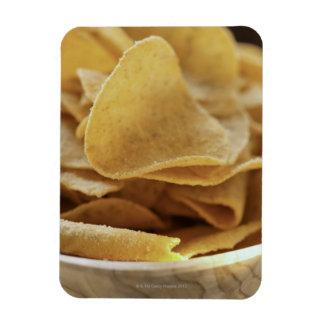 Tortilla chips in wooden bowl rectangular photo magnet