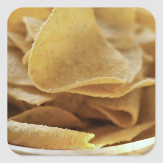 Tortilla chips in wooden bowl square sticker