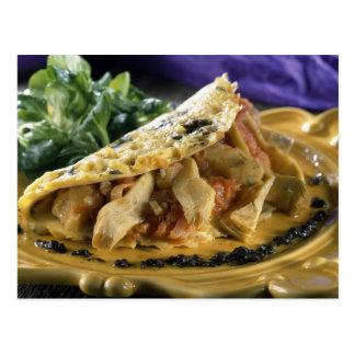 Tortilla con eneldo y verduras en postales