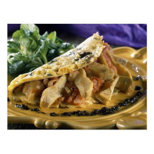 Tortilla con eneldo y verduras en tarjeta postal