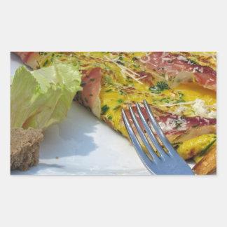 Tortilla de la mota y del queso pegatina rectangular