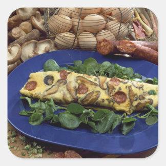 Tortilla rodada con el shiitake y el chorizo - pegatina cuadrada