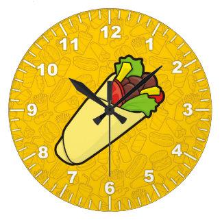 Tortilla Sandwich Wrap Large Clock