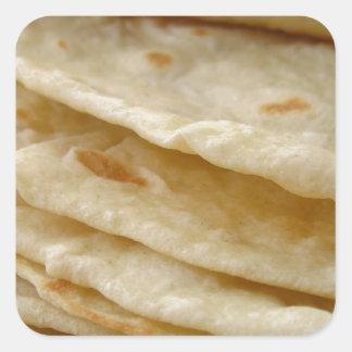 Tortillas de la harina pegatina cuadrada
