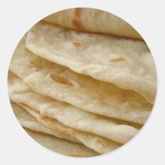 Tortillas de la harina pegatina redonda