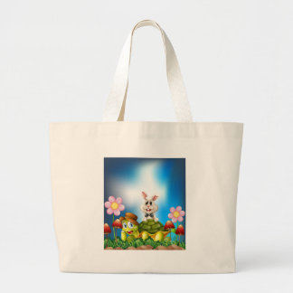 Tortoise and hare large tote bag