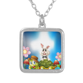 Tortoise and hare silver plated necklace
