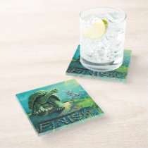 Tortoise and the Hare Art Glass Coaster