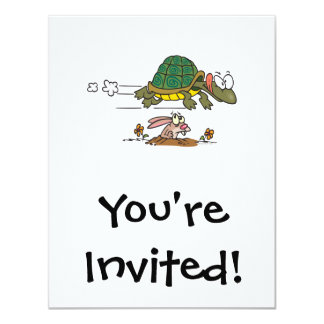 tortoise and the hare funny fable cartoon 4.25x5.5 paper invitation card