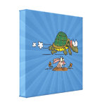 tortoise and the hare funny fable cartoon stretched canvas print