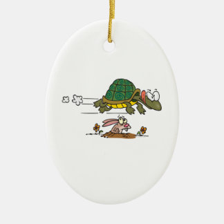 tortoise and the hare funny fable cartoon christmas ornament