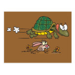 tortoise and the hare funny fable cartoon postcard