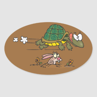 tortoise and the hare funny fable cartoon sticker