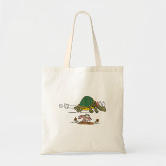 tortoise and the hare funny fable cartoon tote bag