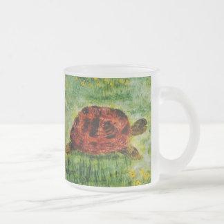 Tortoise Animal Art Frosted Glass Coffee Mug