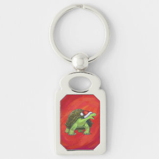 Tortoise Christmas On Red Keychain