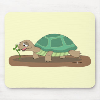 Tortoise eating mouse pad