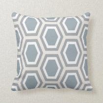 Tortoise Hexagon Large Pattern Blue Grey Tan Throw Pillow